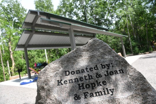A granite marker is placed by the newly-constructed shelter at the Melrose Deep Seven quarry Thursday, June 25, 2020, at Quarry Park in Waite Park.
