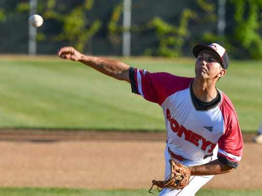 Quinton Young pitches for the Sartell Stone Poneys Wednesday, June 24, 2020, at St. Cloud Orthopedics Field in Sartell.