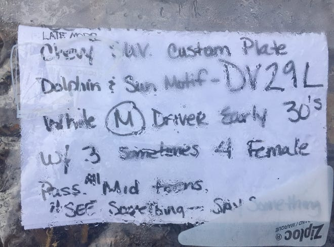 A note left at Charles Park in Vero Beach alleges there was a sex trafficking ring operating in the neighborhood on June 19, 2020. Police said the information on the note, including the license plate of a car, couldn't be verified and they haven't found evidence of trafficking in the area.