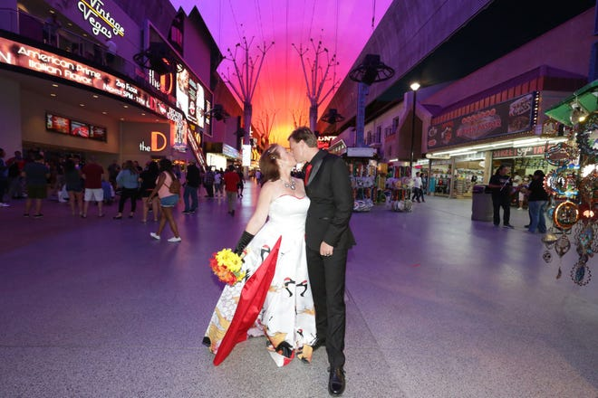 Belinda Reedy, 53, and Chase Hinton, 26, were chosen to participate in a social media campaign as ambassadors for Frontier Airlines. The Port St. Lucie couple got to take a trip to Las Vegas and renew their wedding vows.