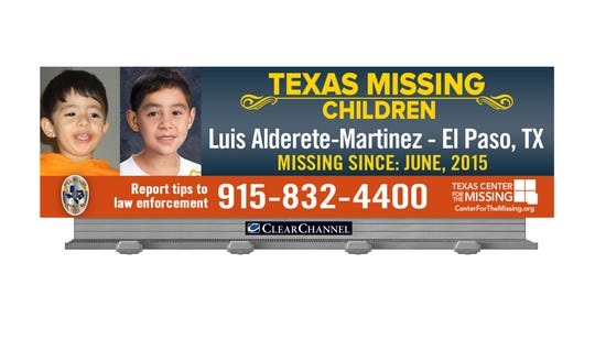 A billboard featuring missing El Paso child Luis Alderete-Martinez is up by The Fountains at Farah. The child went missing in 2015.