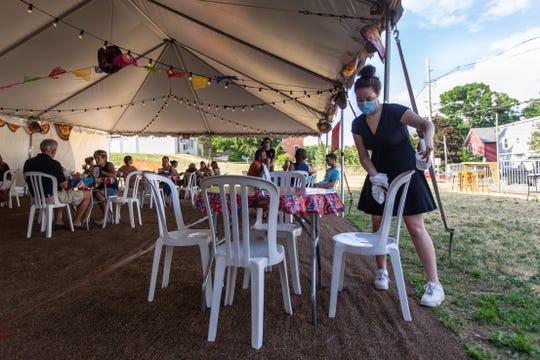 Outdoor dining at Amigos Cantina in Schuylerville, Saratoga County, opened up on Tuesday, June 23, 2020 after the restaurant received permission to set up a tent on private property adjacent to it.