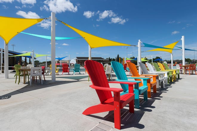 Deck chairs and canopies are seen on June 25, 2020, at the Wisconsin Rapids Recreation Center.