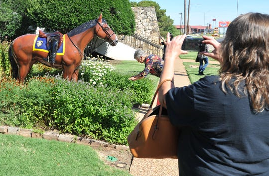 A small crowd gathered, Thursday morning, in front of the Wichita Falls police station to celebrate the unveiling of the C.C. Bud Daniel police memorial horse presented by his daughter, Anne Popejoy, to honor fallen officers.