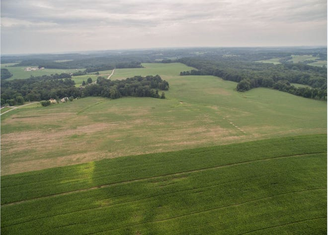 This is an aerial view of the National Road Business Park property, which is located near Interstate 70. The 203.41 acres is green space, but work is pending to get the sites ready for new businesses.