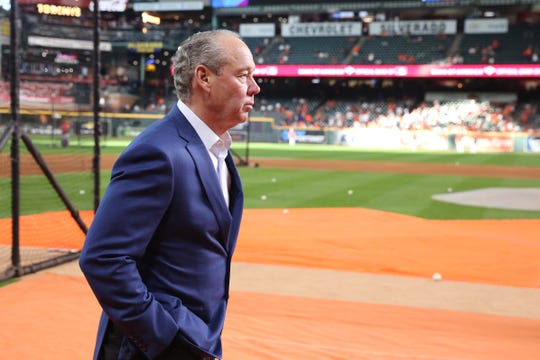 Astros owner Jim Crane looks on before Game 1 of the 2019 World Series.
