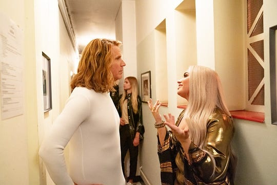 """Before things got bad. Lars Erickssong (Will Ferrell) and Katiana (Demi Lovato) share a backstage moment in """"Eurovision."""""""