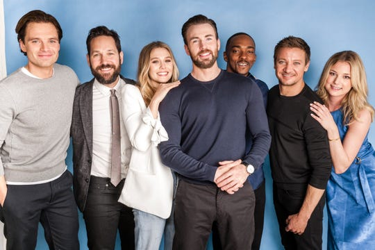 "The cast members in the film ""Captain America: Civil War."""