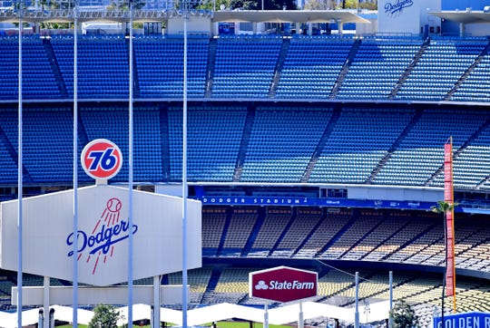 A view of an empty Dodger Stadium on what was scheduled to be opening day.