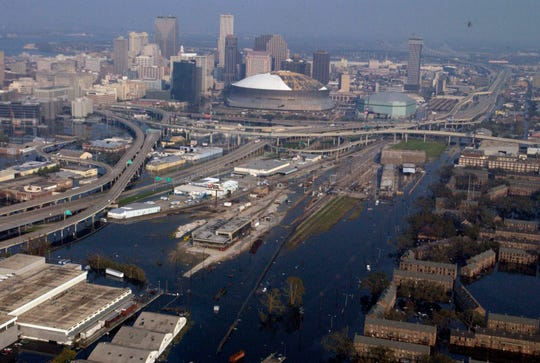 After nearly a week since Hurricane Katrina slammed in the the northern-western Gulf Coast  most of the city of New Orleans is seen underwater.