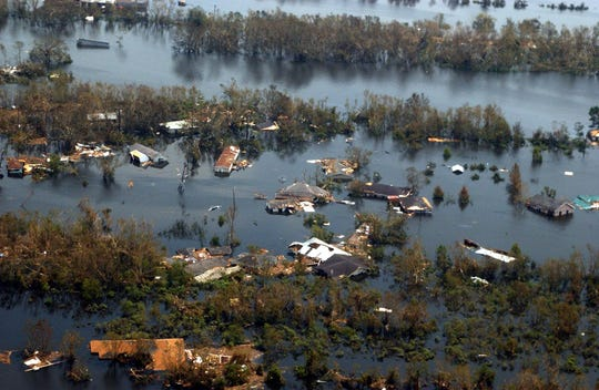 Hurricane Katrina left much of the Venice, La., area underwater on Aug. 30, 2005.