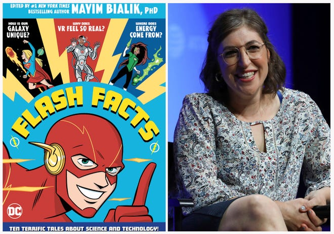 "Mayim Bialik, right, is collaborating with DC Entertainment on a new science book called ""Flash Facts,"" left."