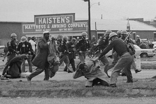 Civil rights voting march on March 7, 1965 in Selma, Alabama.