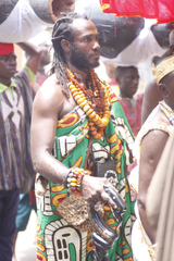Kambon is honored as a traditional ruler at a ceremony during the Odwira festival in Ghana, in October 2018.