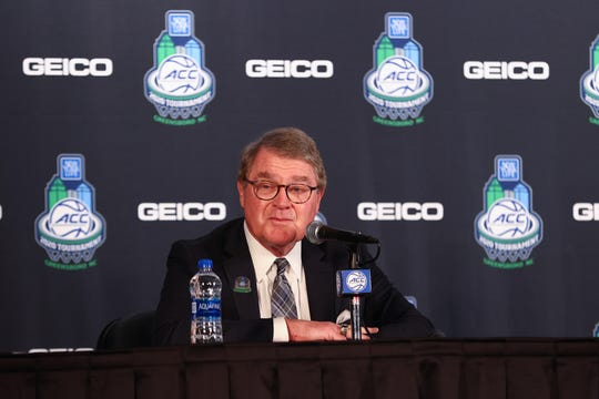 ACC commissioner John Swofford speaks to the media prior to the start of the quarterfinals of the ACC Tournament at Greensboro Coliseum.