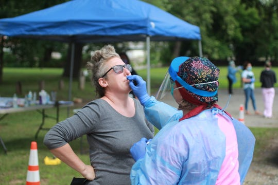 The Madison County Health Department operated a free, drive thru testing event on Blannahassett Island in Marshall June 24.