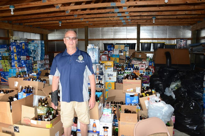 Brian Mohlman said American Legion Post 257 has found someone who will take nearly 200,000 redeemable containers collected during the coronavirus.  Trace Christenson/The Enquirer
