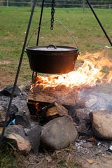 Daughter Loretta and her special friend Dustin made a campfire stew for Father's Day.