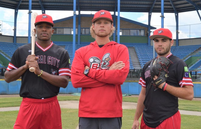 The Battle Creek Bombers are returning to play this summer, despite a delay of the season due to the coronavirus. Led by manager Mike Ruppenthal, center, the Bombers look to be loaded with talent, including TJ McKenzie, left, and Pablo Arevalo.