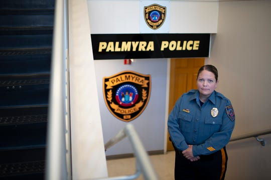 Lt. Meghan Campbell poses inside the police station in Palmyra, N.J. on Thursday, June 25, 2020. Campbell will take over for retiring Chief Scott Pearlman in July.