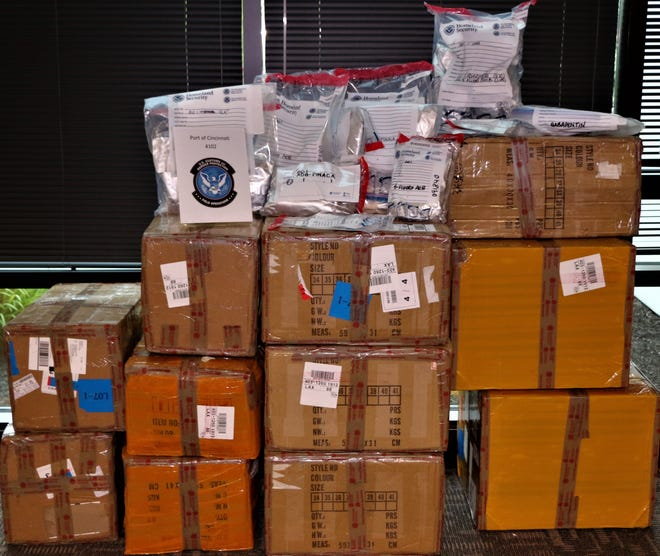 Part of the over 500 pounds synthetic drugs and controlled substances seizure made by the U.S. Customs and Border Protection officers in Erlanger, Kentucky, on May 11.