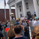 A crowd of people outside of the historic courthouse in Flemington during a Black Lives Matter rally organized by Hailey Rounsaville.