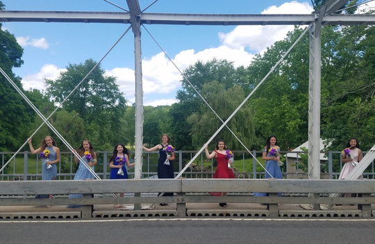 Califon Public School's Class of 2020 stands along the borough's historic bridge. The pre-K-8 school aims to boost its small enrollment through a tuition program.