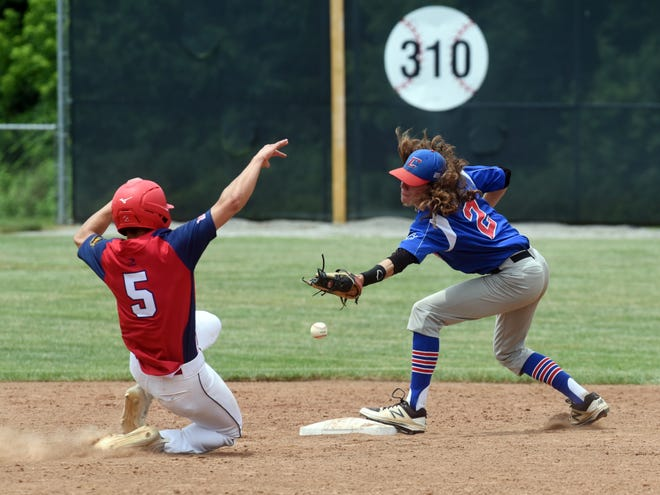 Ridgewood grad Memphis Cutshall, left, of the Coshocton Cherokees slides safely into second base in front of Lane Howell against Cambridge JET Auto-Carr Antill Insurance during the Ben Tufford Memorial Tournament on Friday at Lake Park.