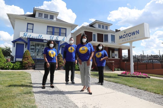 Motown Museum CEO and chairwoman Robin Terry with staffers Kim Arnold, Mike Mroz and Shelia Spencer in front of the Detroit museum on June 25, 2020.
