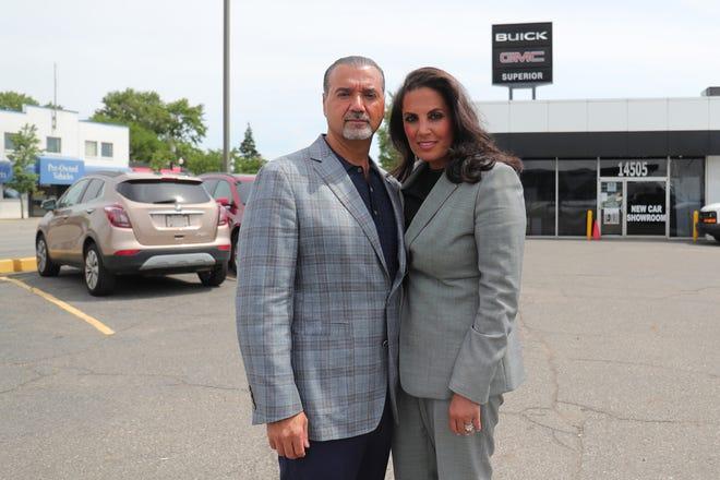 Bas and Tanya Robin at their Superior Buick Cadillac GMC dealership in Dearborn Friday, June 26, 2020.