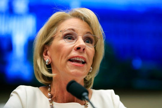 In this April 10, 2019 file photo, Education Secretary Betsy DeVos testifies before the House Education and Labor Committee.
