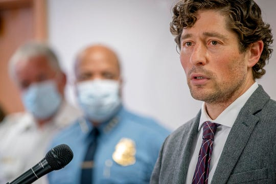 In this May 28, 2020 file photo, Minneapolis Mayor Jacob Frey speaks during a news conference in Minneapolis. Minneapolis City Council is voting Friday, June 26, 2020, on a proposal to do away with the city's police department and create a new community safety and violence prevention department.