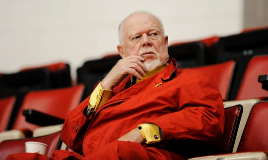 Don Cherry, the colorful and controversial host of Coaches Corner during CBC's Hockey Night in Canada broadcasts, watches the Red Wings' morning skate at Joe Louis Arena before Game 7 of the 2009 Stanley Cup final between the Red Wings and Penguins.