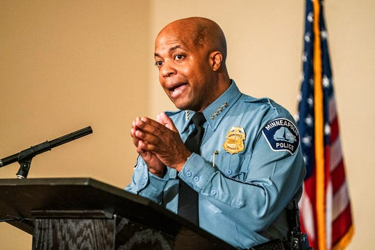 In this June 10, 2020 file photo, Minneapolis Police Department Chief of Police Medaria Arradondo, speaks in Minneapolis. Minneapolis City Council is voting Friday, June 26, 2020, on a proposal to do away with the city's police department and create a new community safety and violence prevention department.