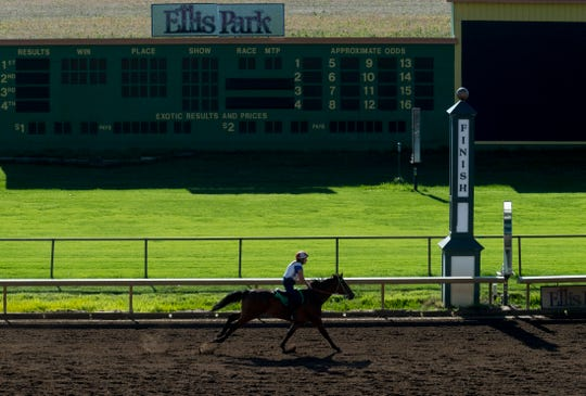 An exercise rider nears the finish line at Ellis Park Wednesday morning, June 24, 2020.