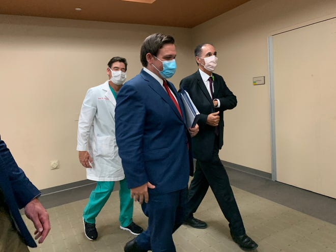 Governor Ron DeSantis held a press conference regarding COVID-19 at Lee Health on Friday, June 26, 2020, with physicians and officials at Lee Health.