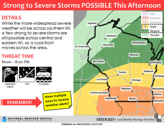 Strong storms are possible throughout Wisconsin on Friday afternoon.