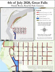 Map of Fourth of July parade route, as well as local road and park closures for the holiday.