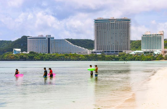 Skyline view of hotels lining the shores of Tumon Bay on Friday, June 26, 2020.