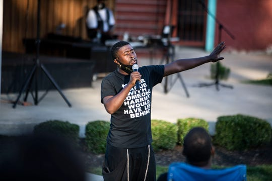 Cleavon Meabon IV speaks to the community of Jackson, Tenn., at the AMP Theatre about the issues and concerns in the Black Community, Friday, June 26, 2020.