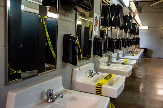 Number of restrooms stalls and sinks have been limited at the Ballpark at Jackson in Jackson, Tenn., Friday, June, 26, 2020.