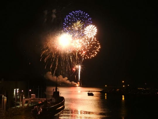 Fourth of July fireworks in downtown Manitowoc.