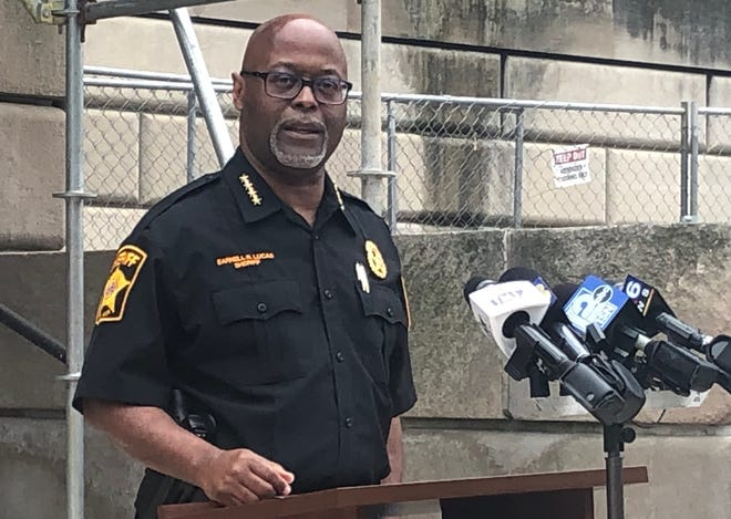 Milwaukee County Sheriff Earnell Lucas speaks to reporters Friday at a news conference.