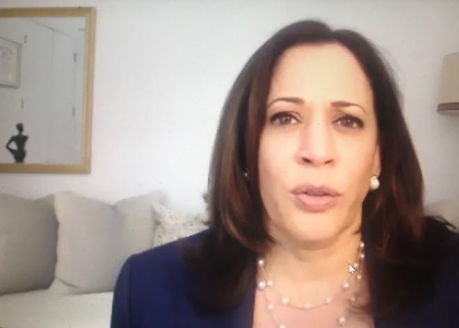 U.S. Sen. Kamala Harris, D-California, speaks during a virtual campaign event for Joe Biden.