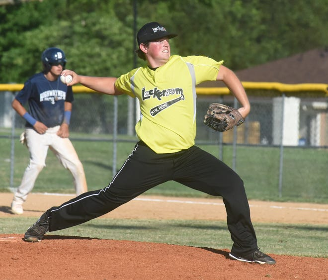 Lockeroom's Tyler Smith delivers a pitch during a recent game at Cooper Park.