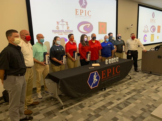 The head athletic trainers at Caldwell, Carroll, Neville, Ouachita, Richwood, Ruston, Sterlington, West Monroe, West Ouachita and Wossman high schools received wet bulb globe thermometers and emergent cooling tanks to treat heat-related illnesses from EPIC Education and Consulting.