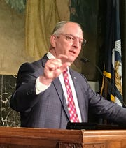 Louisiana Governor John Bel Edwards conducts a press conference on June 22, 2020.