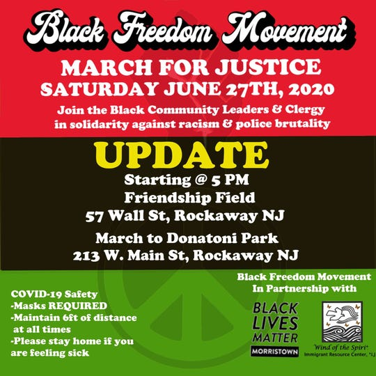 Morris County residents along with Black Lives Matter Morristown and Wind of the Spirit will host a 'march for justice' protest on Saturday June 27 in Rockaway.
