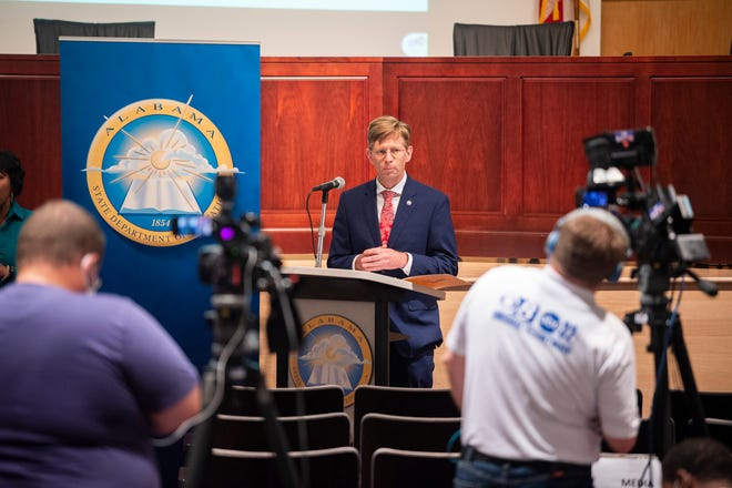 State Superintendent Eric Mackey speaks during a press conference at Alabama Department of Education in Montgomery, Ala., on Friday, June 26, 2020.