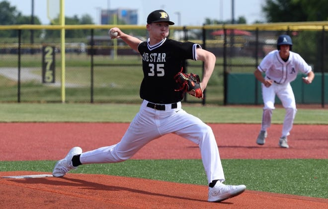 New Castle junior Aydan Decker-Petty throws a pitch while playing for 5 Star National Midwest 2022. He verbally committed to Indiana University on June 15, 2020.
